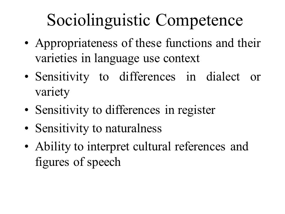 Sociolinguistic Competence
