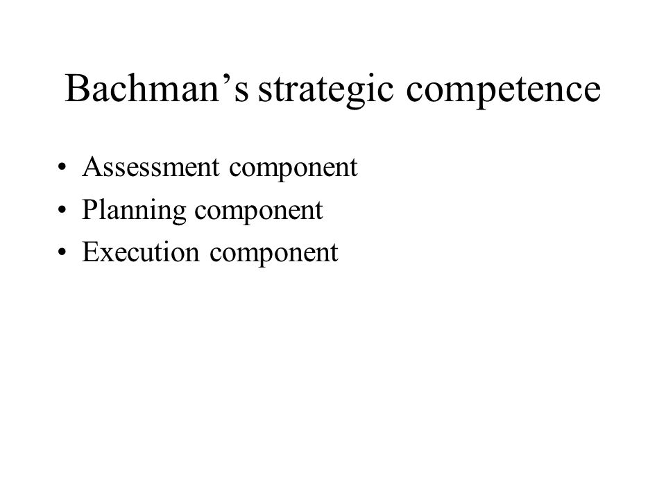 Bachman's strategic competence