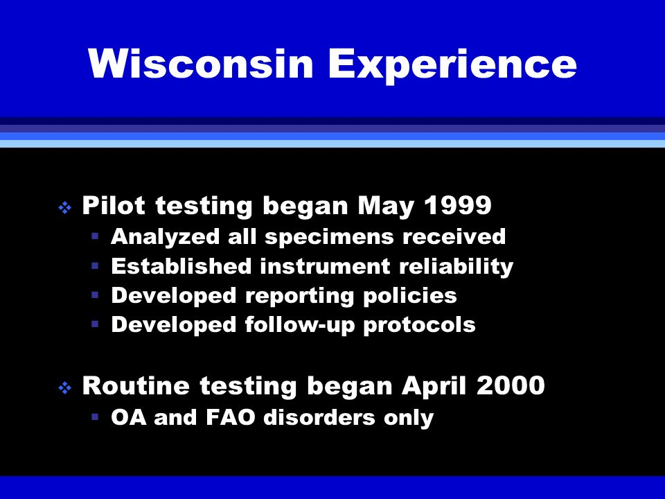 Wisconsin Experience Pilot testing began May 1999