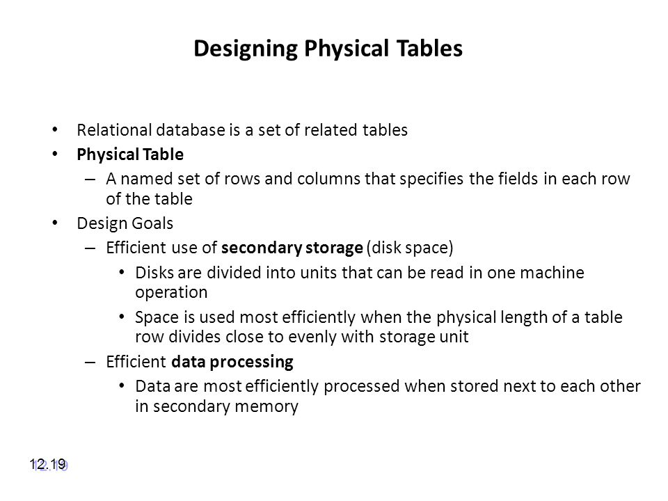 Designing Physical Tables