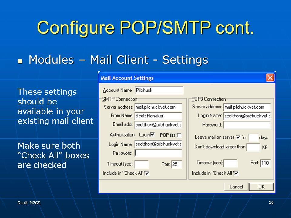 Configure POP/SMTP cont.