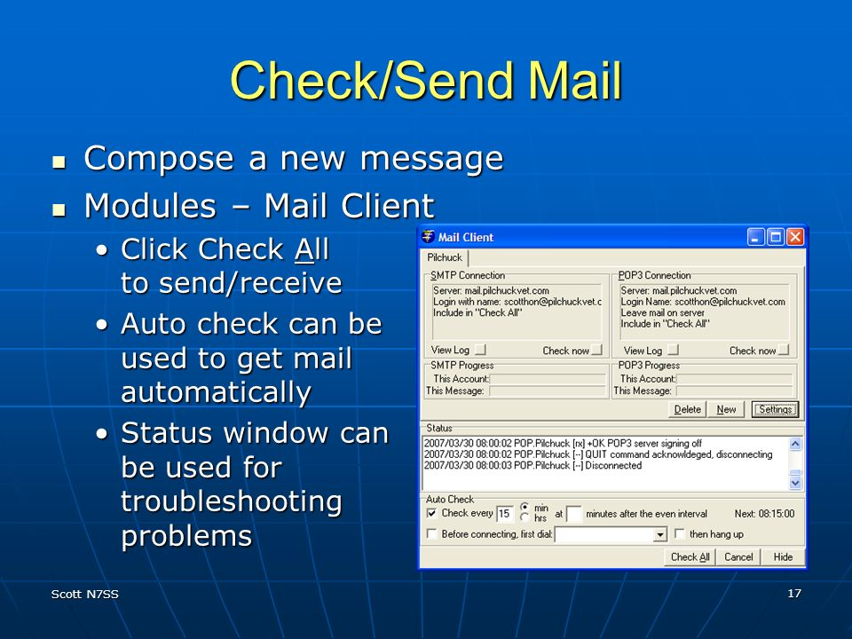 Check/Send Mail Compose a new message Modules – Mail Client