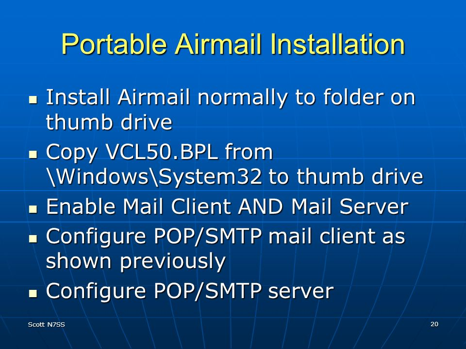 Portable Airmail Installation