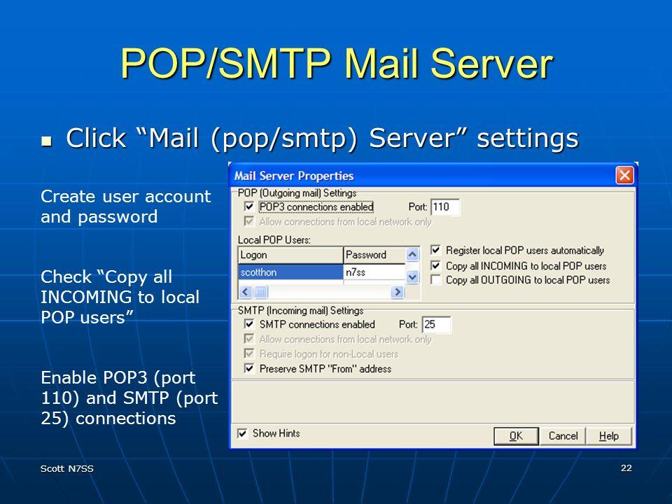 POP/SMTP Mail Server Click Mail (pop/smtp) Server settings