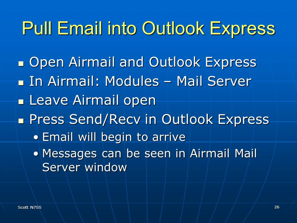 Pull Email into Outlook Express