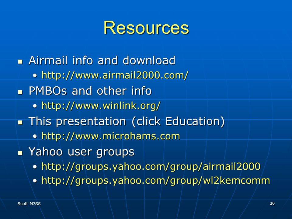 Resources Airmail info and download PMBOs and other info