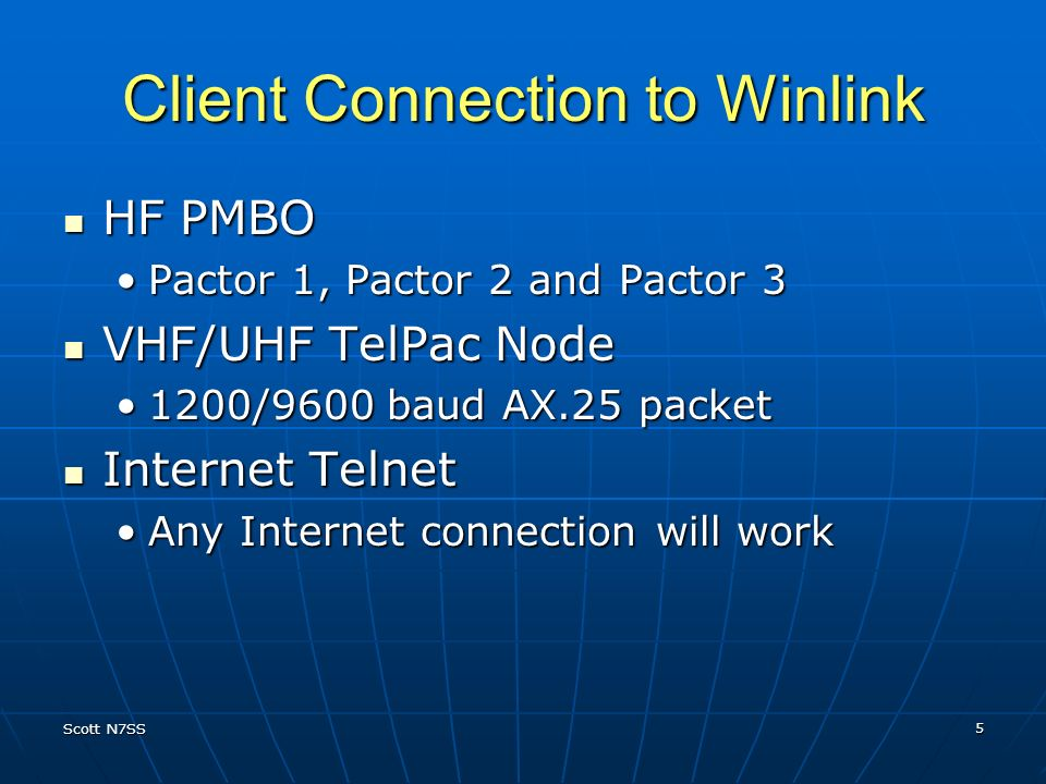 Client Connection to Winlink