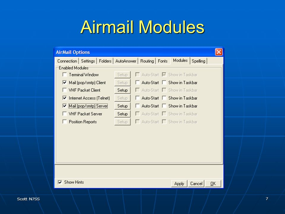 Airmail Modules Terminal Windows is for Diagnostics