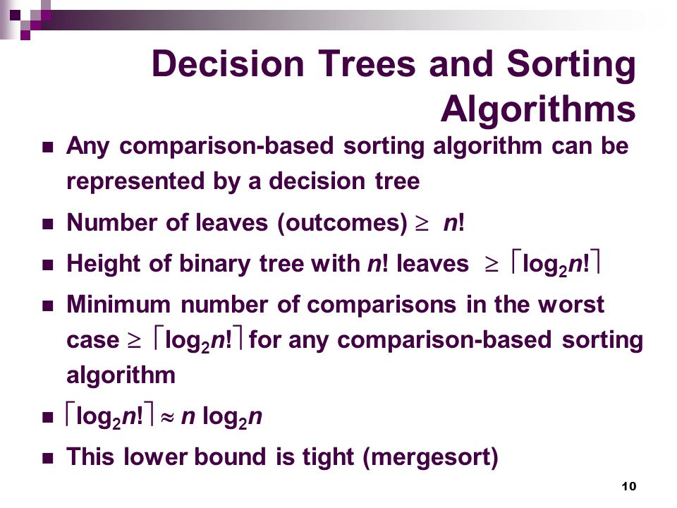 Decision Trees and Sorting Algorithms