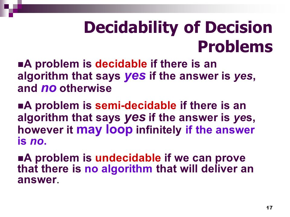 Decidability of Decision Problems
