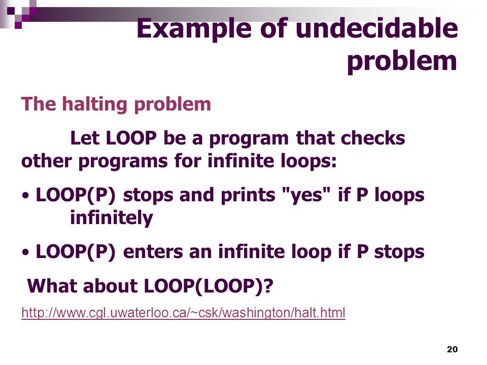 Example of undecidable problem