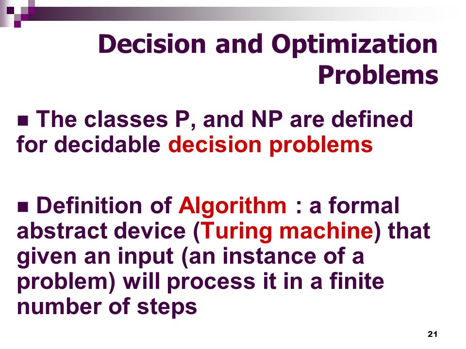 Decision and Optimization Problems