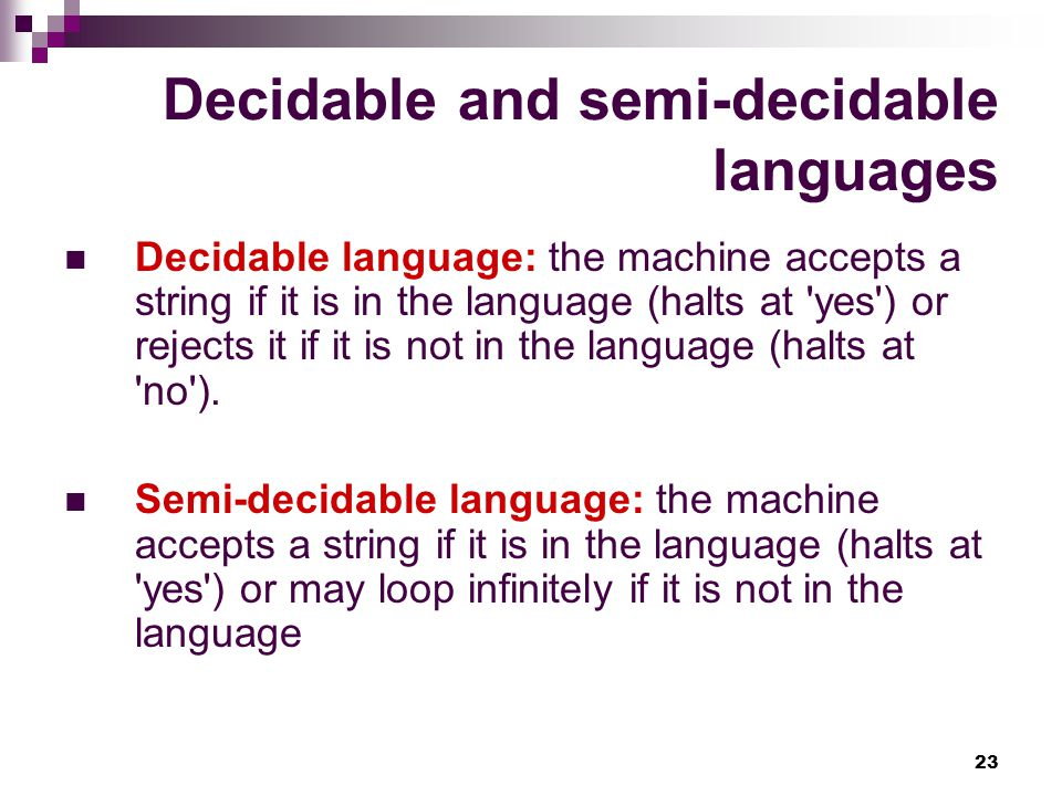 Decidable and semi-decidable languages