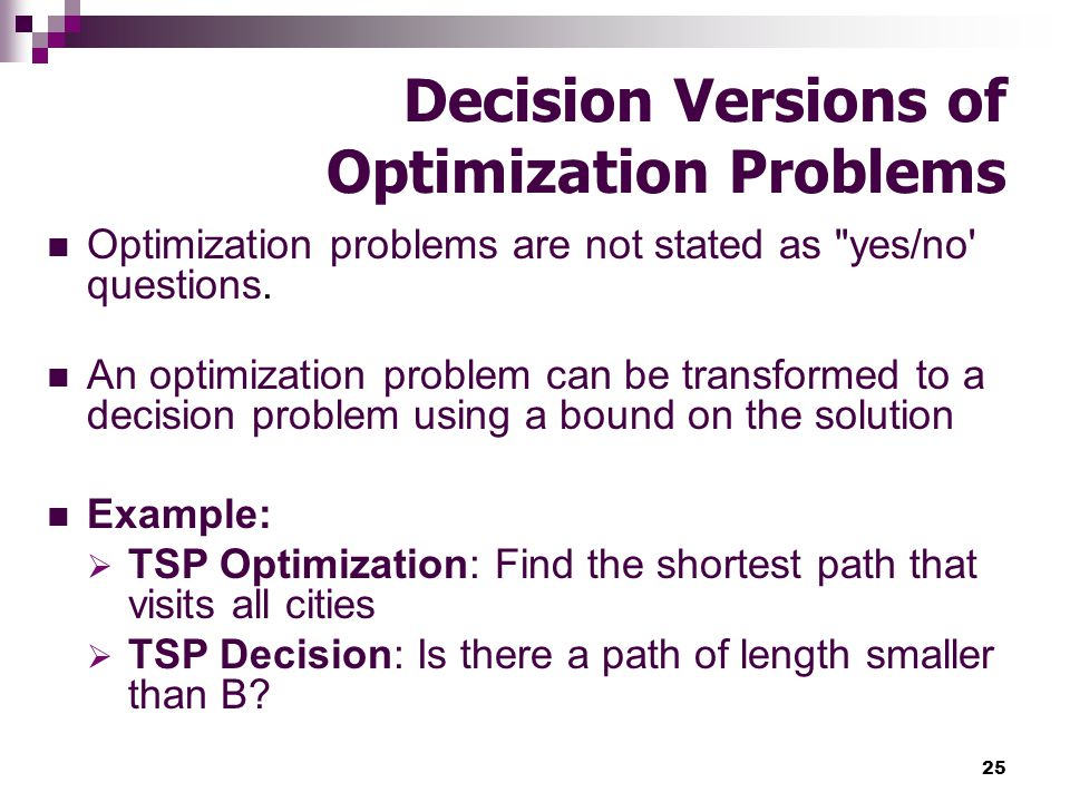 Decision Versions of Optimization Problems