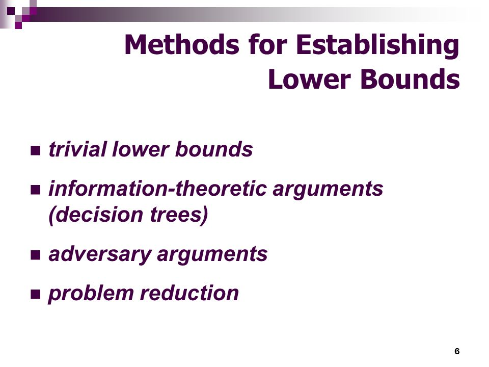 Methods for Establishing Lower Bounds