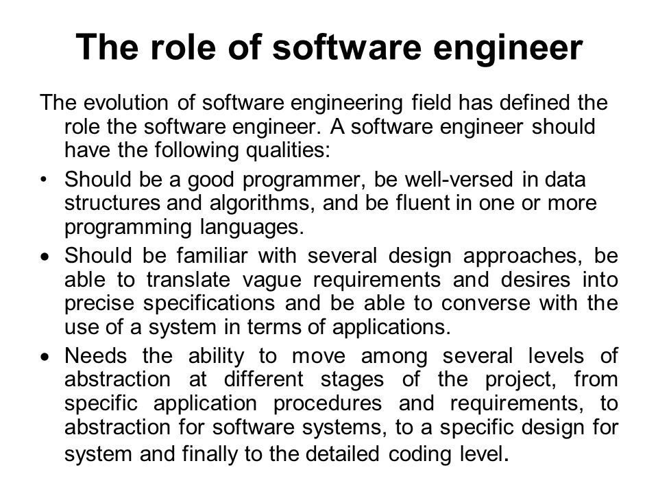 the role of software engineer
