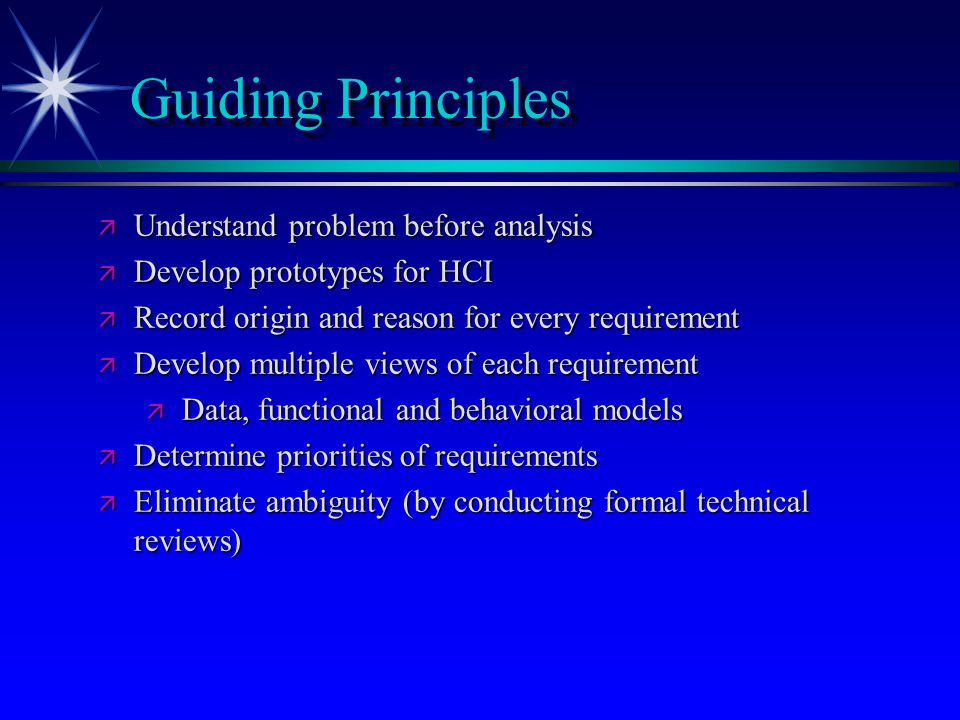 Guiding Principles Understand problem before analysis