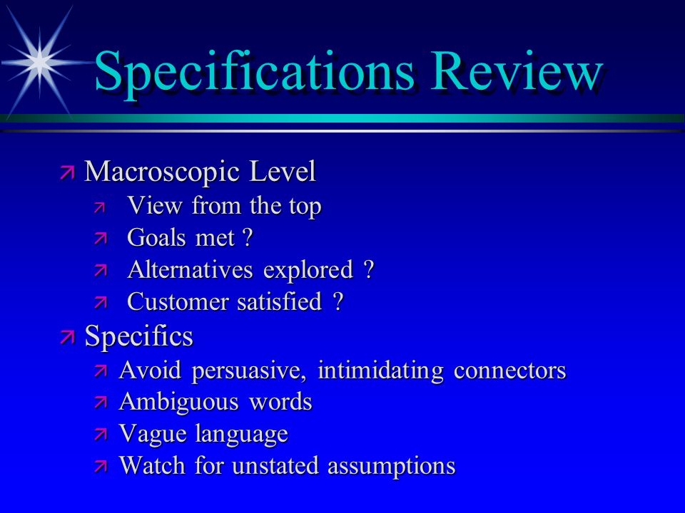 Specifications Review