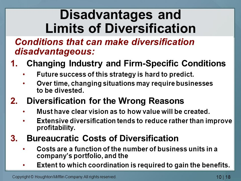 advantages of unrelated diversification