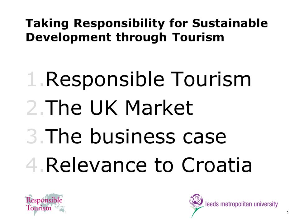 Taking Responsibility for Sustainable Development through Tourism
