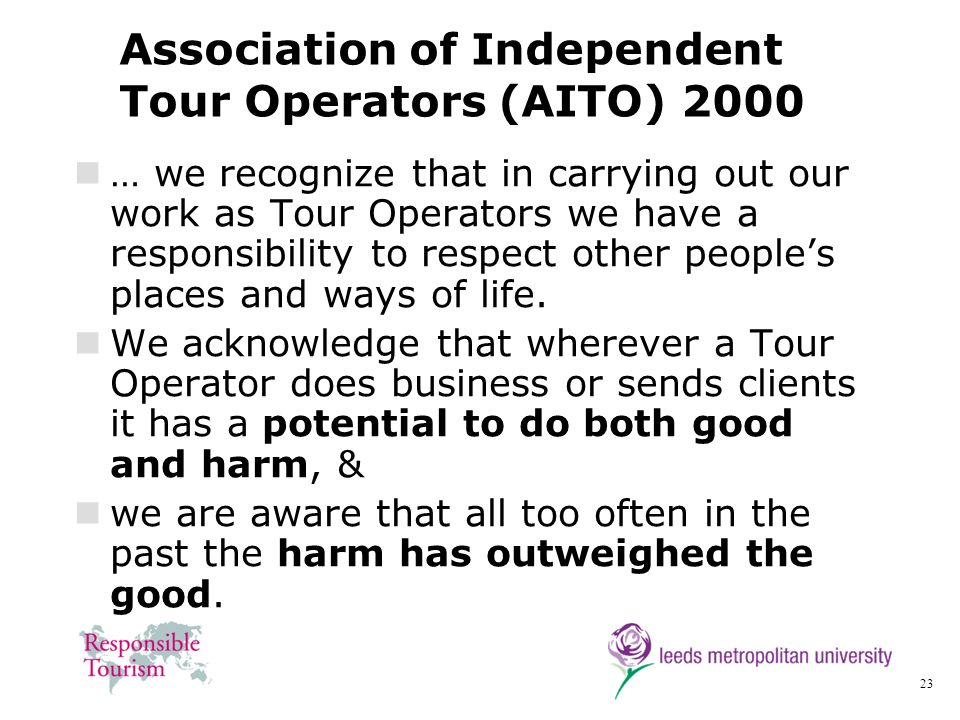 Association of Independent Tour Operators (AITO) 2000