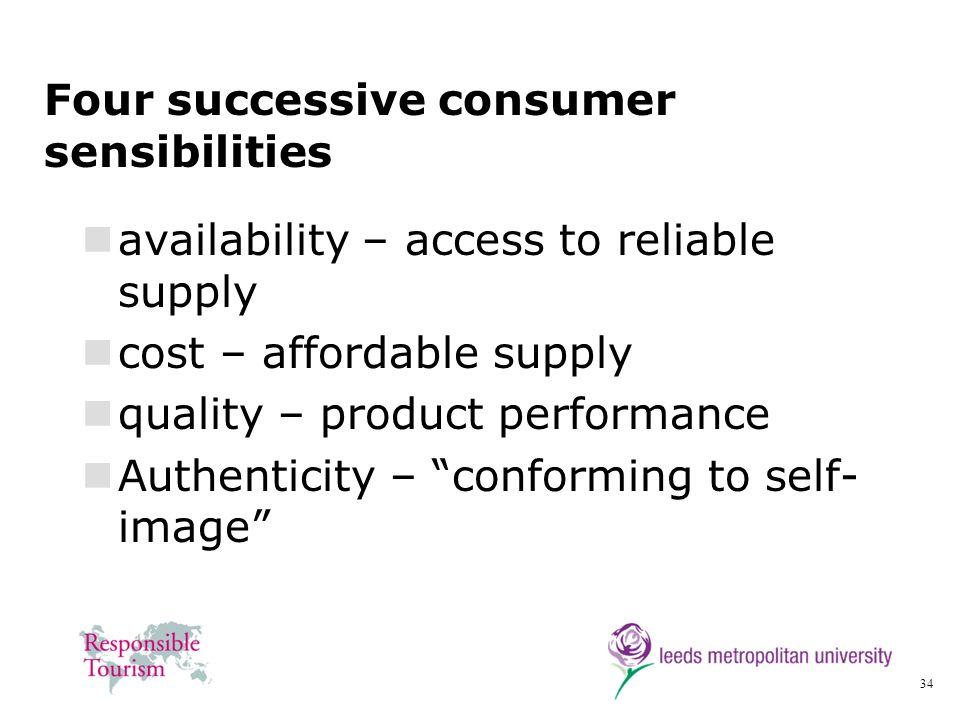 Four successive consumer sensibilities