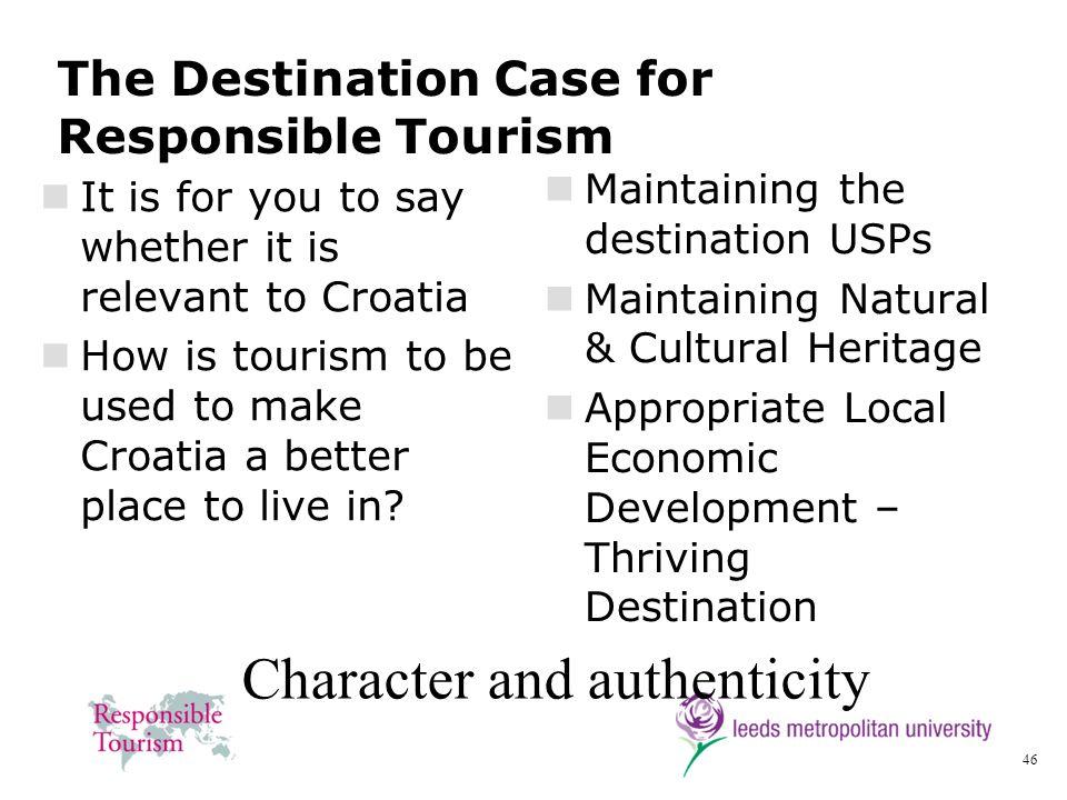 The Destination Case for Responsible Tourism