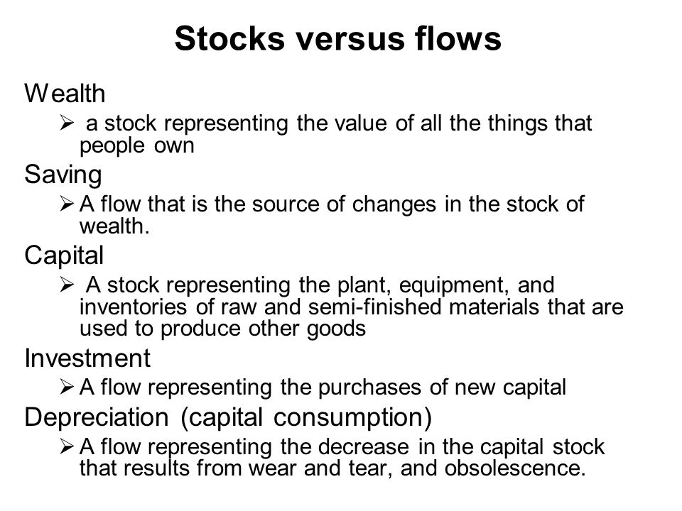 Stocks versus flows Wealth Saving Capital Investment