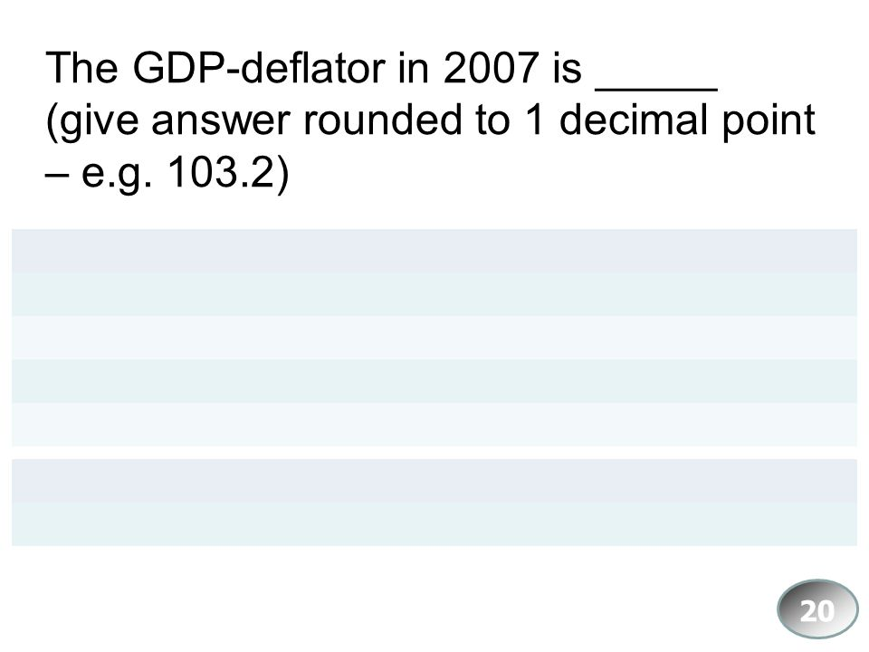 The GDP-deflator in 2007 is _____ (give answer rounded to 1 decimal point – e.g )