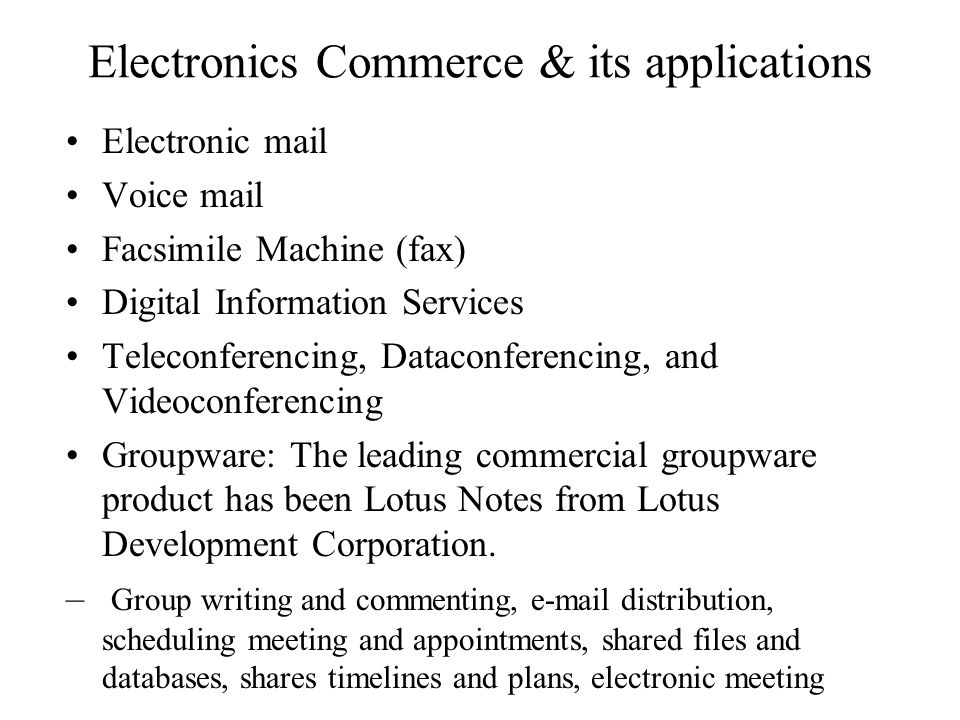 Electronics Commerce & its applications