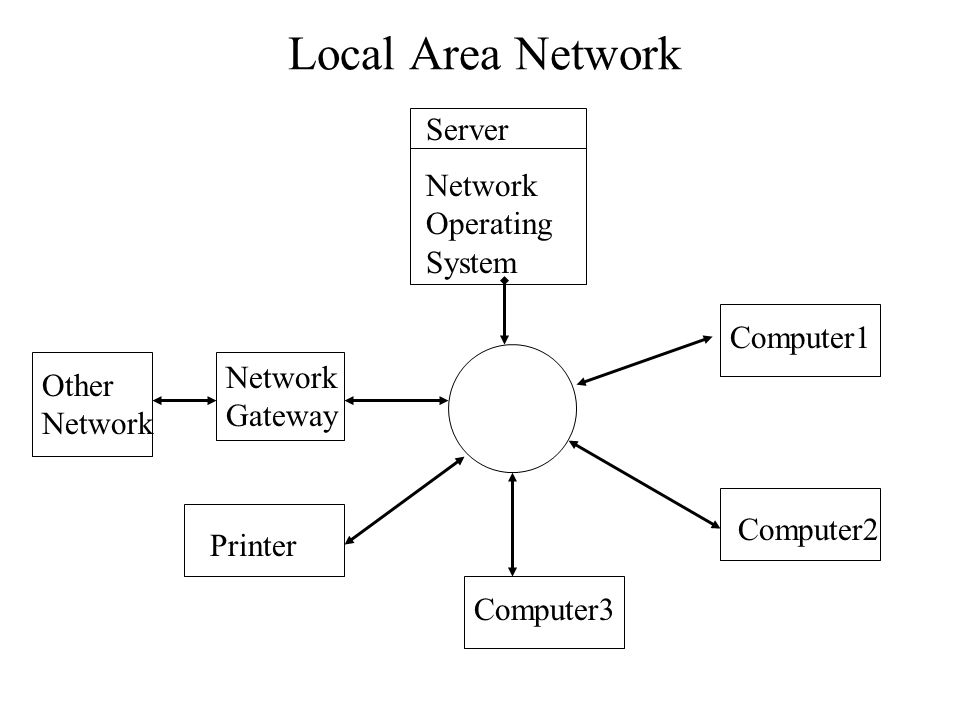 Local Area Network Server Network Operating System Computer1 Network