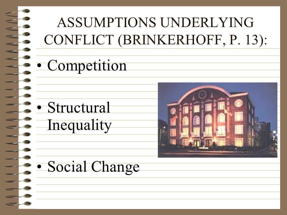 ASSUMPTIONS UNDERLYING CONFLICT (BRINKERHOFF, P. 13):