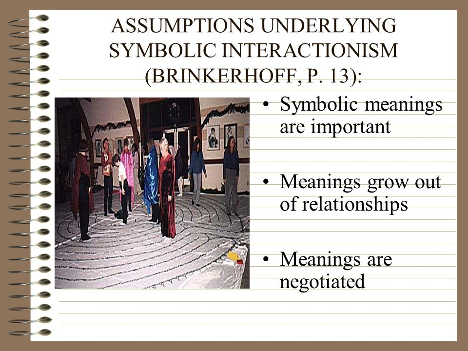 ASSUMPTIONS UNDERLYING SYMBOLIC INTERACTIONISM (BRINKERHOFF, P. 13):
