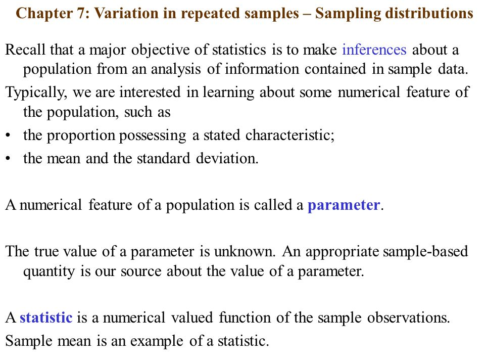Chapter 7: Variation in repeated samples – Sampling distributions