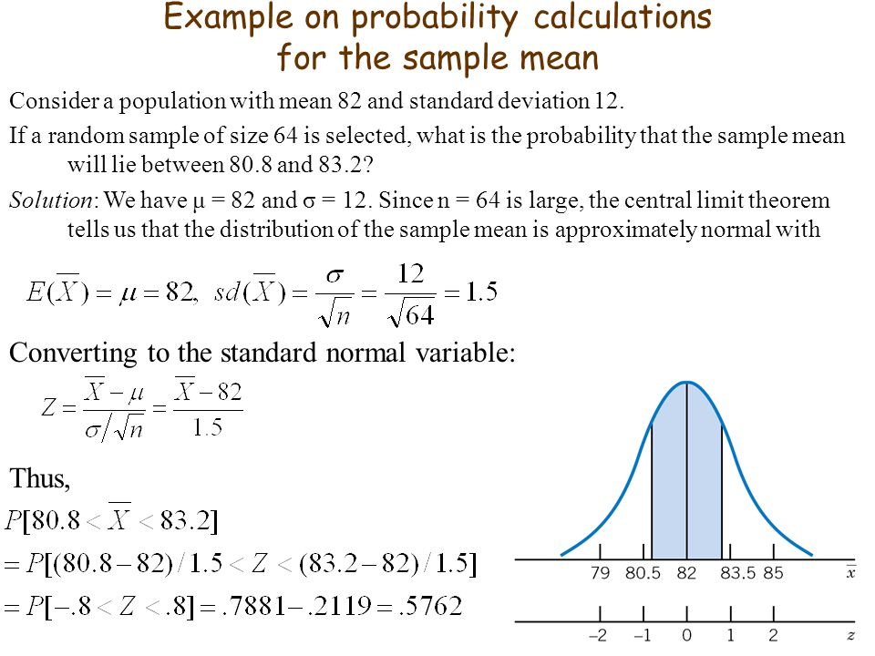 Example on probability calculations for the sample mean