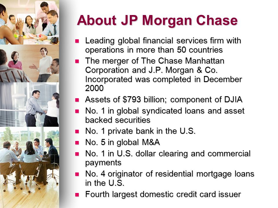 jp morgan co chase manhattan bank merger Founded in 2000 following the merger of chase manhattan corporation and jp morgan & co, jp morgan chase is a multinational banking and financial services company and the largest bank in the united states.
