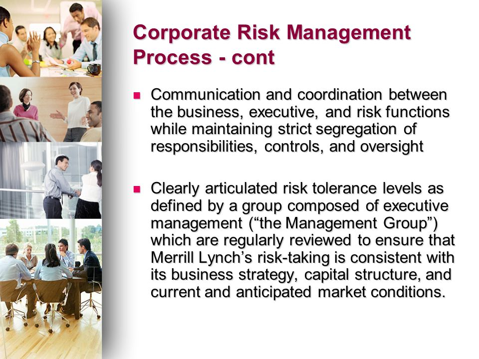 corporate risk management Executive summary reprint: r1206b risk management is too-often treated as a compliance issue that can be solved by drawing up lots of rules and making sure that all.