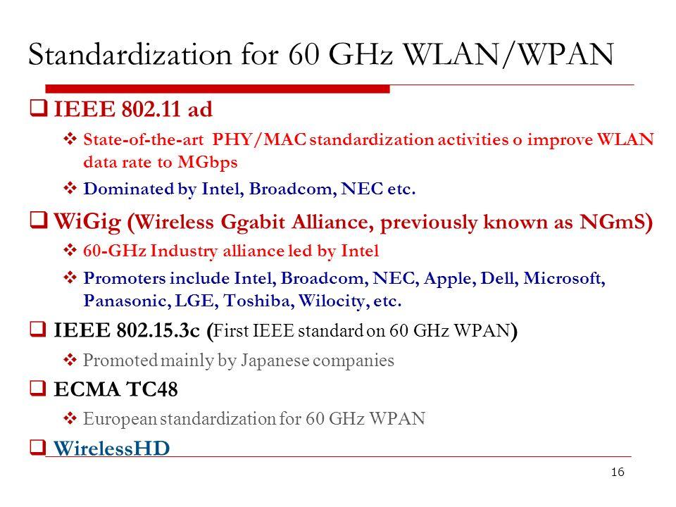 Standardization for 60 GHz WLAN/WPAN