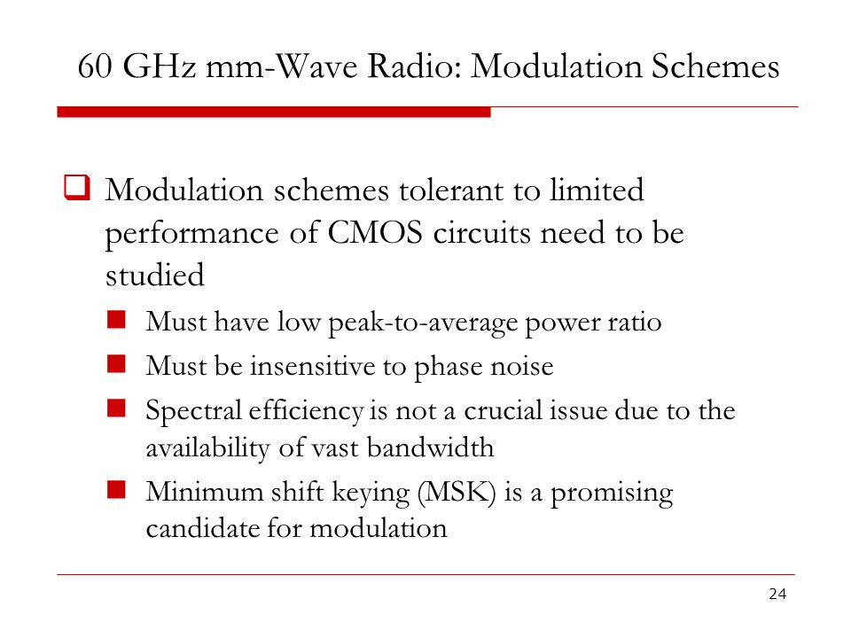 60 GHz mm-Wave Radio: Modulation Schemes