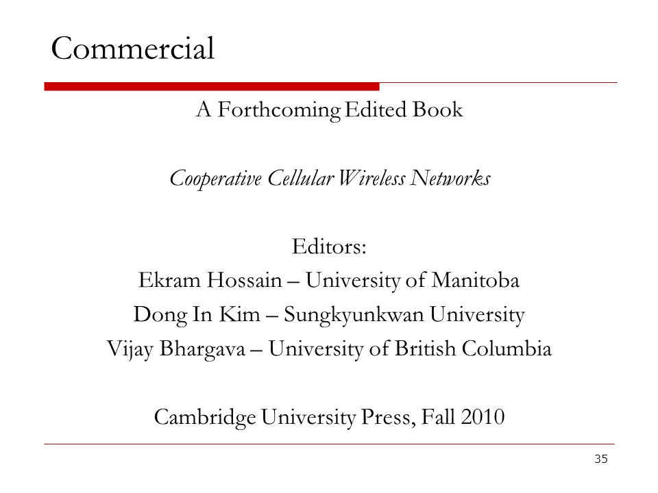 Commercial A Forthcoming Edited Book
