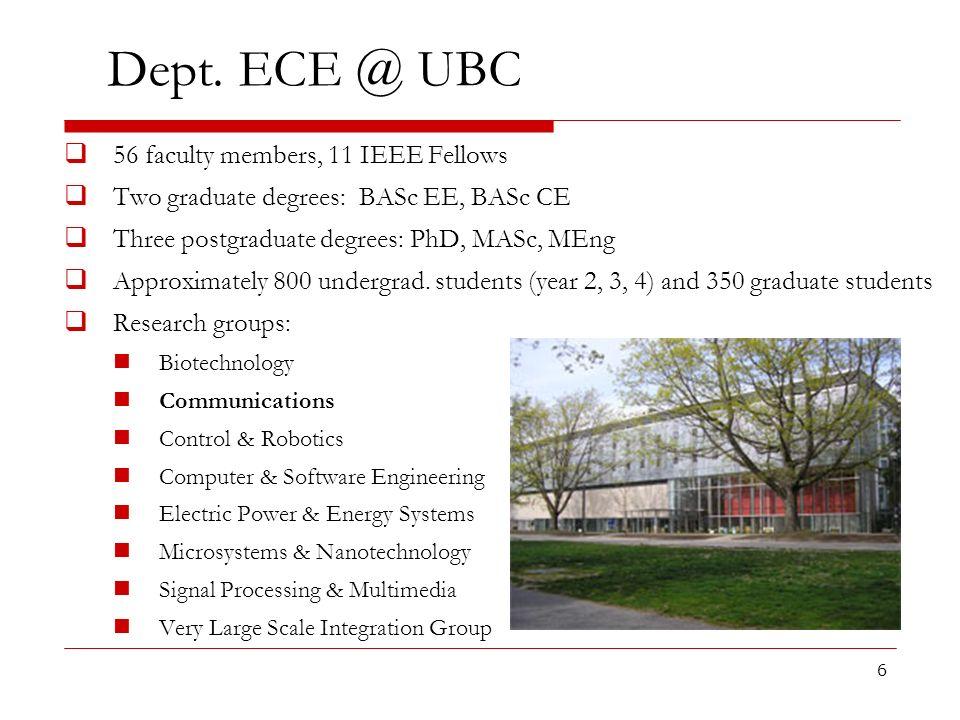 Dept. ECE @ UBC 56 faculty members, 11 IEEE Fellows
