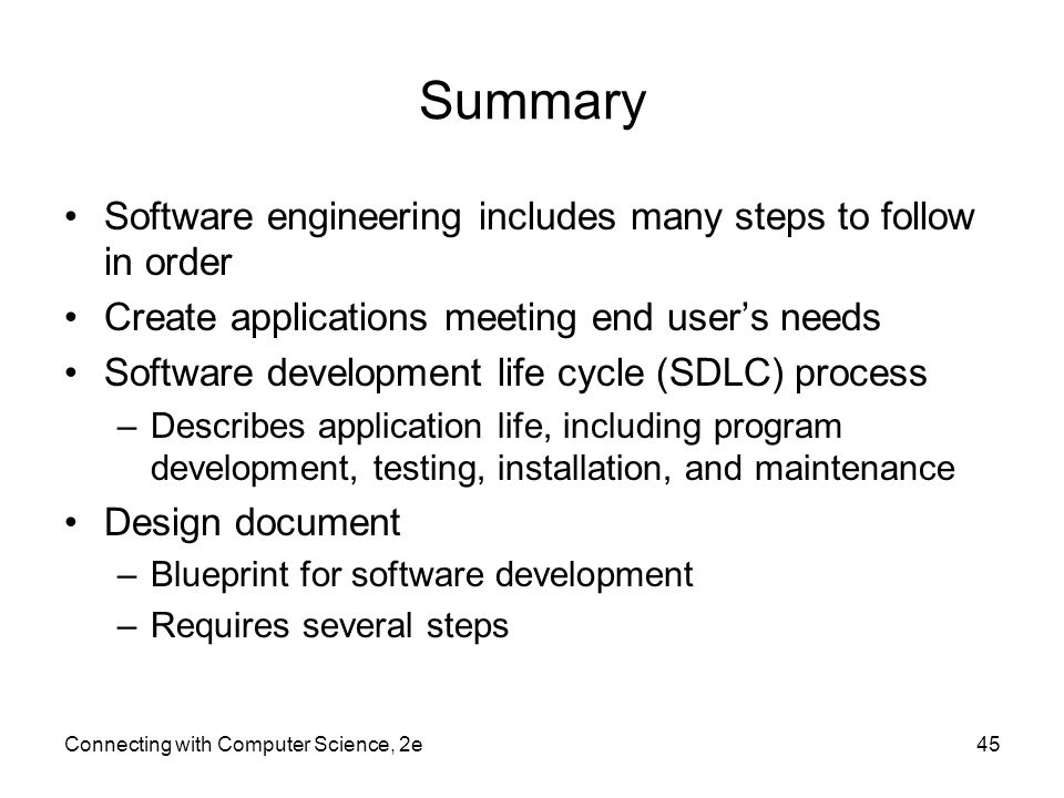 Connecting with computer science 2e ppt video online download summary software engineering includes many steps to follow in order malvernweather Choice Image