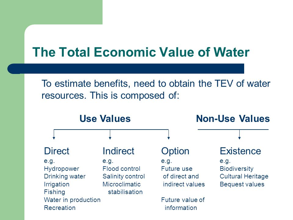 economic value of water Water value and competition will rise available data does not reflect water's true worth in the economy for example, pricing does not usually reflect the marginal value enjoyed by americans in having safe tap water available from community water systems 24 hours a day, which is a benefit that many citizens in other countries do not enjoy.