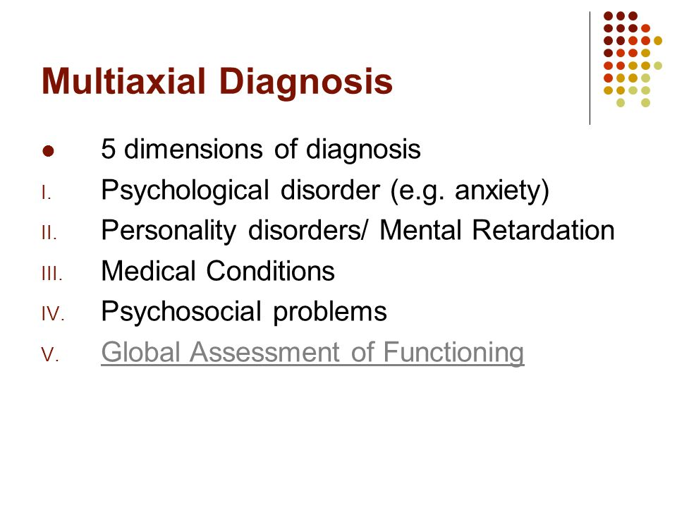 multiaxial diagnosis Multiaxial assessment is a system or method of evaluation, grounded in the biopsychosocial model of assessment that considers multiple factors in mental health diagnoses, for example, multiaxial diagnosis is characterized by five axes in the current version of the diagnostic and statistical manual.