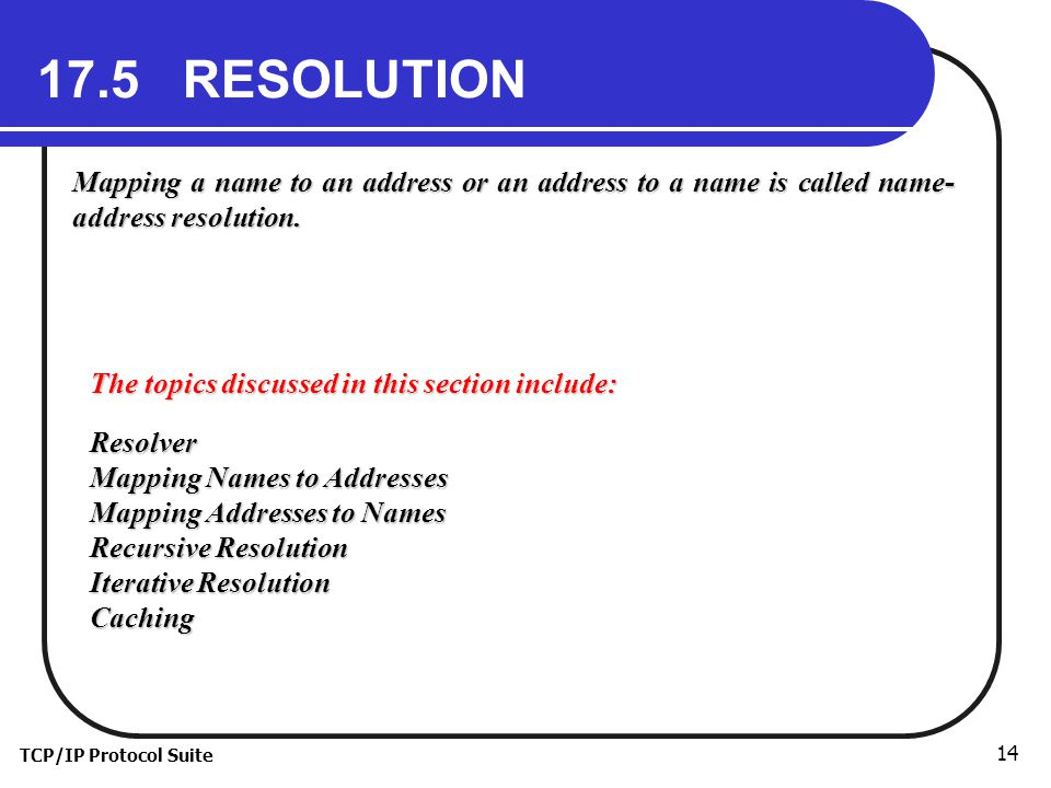 17.5 RESOLUTION Mapping a name to an address or an address to a name is called name-address resolution.