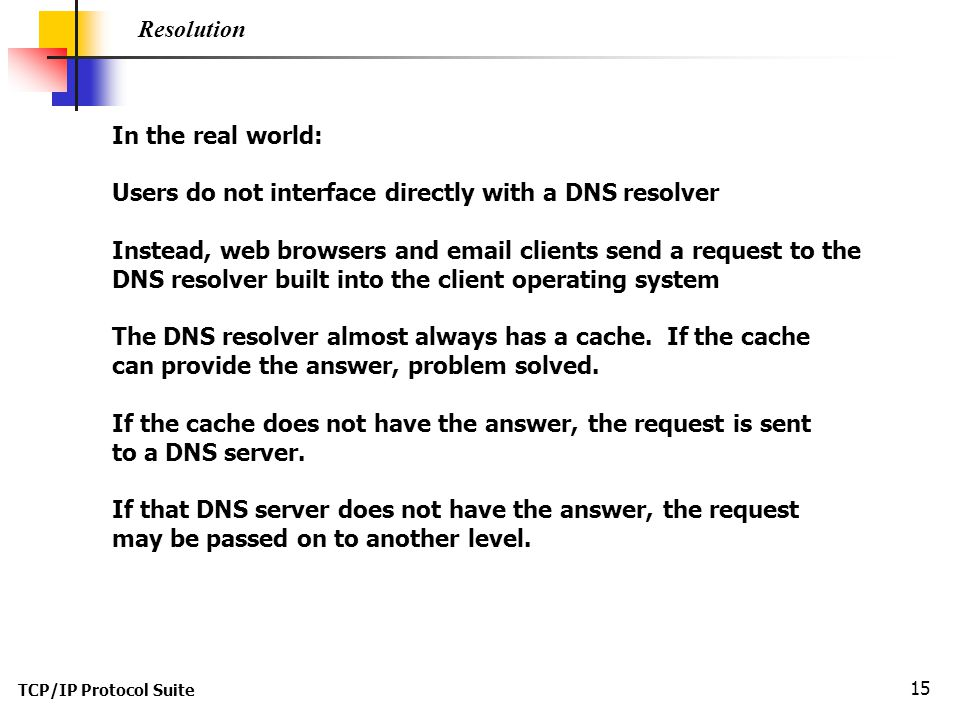 Users do not interface directly with a DNS resolver