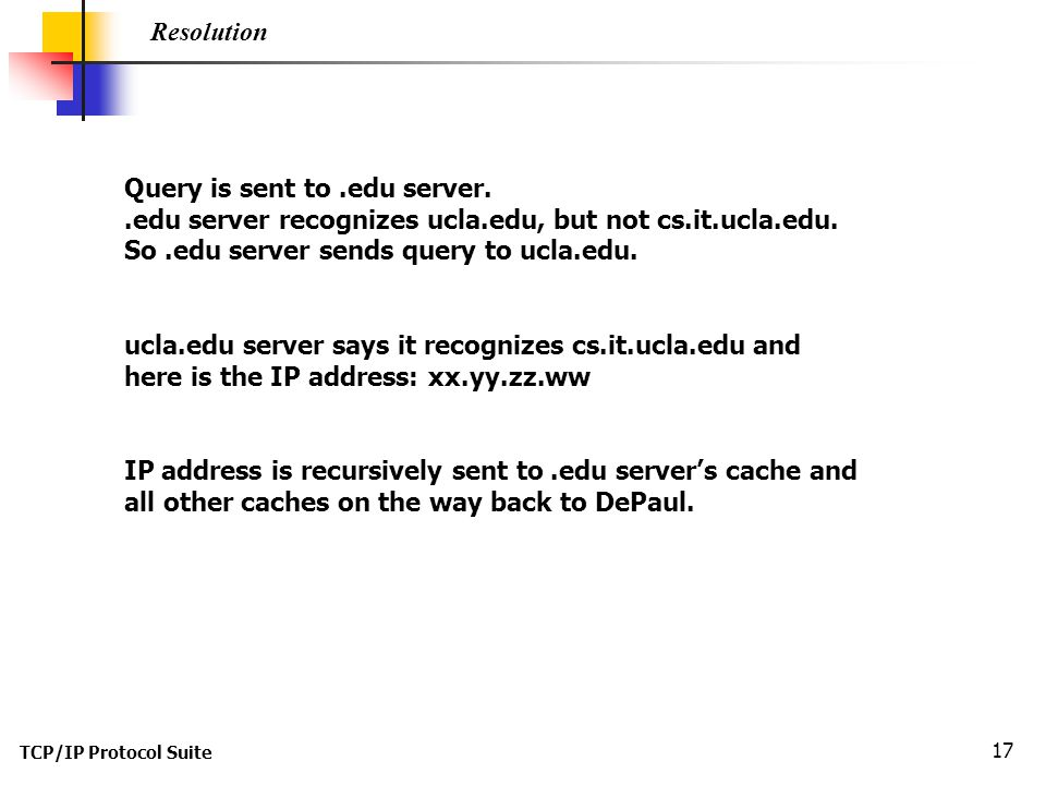 Query is sent to .edu server.