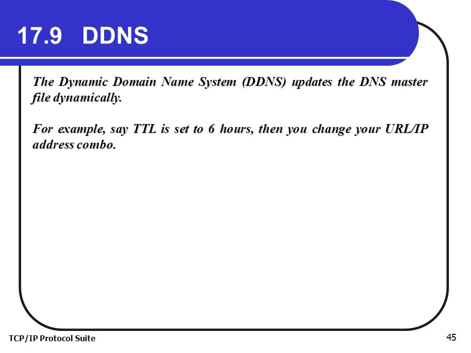 17.9 DDNS The Dynamic Domain Name System (DDNS) updates the DNS master file dynamically.