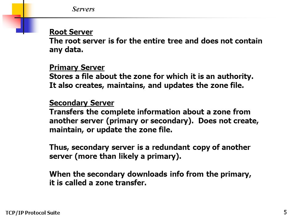 The root server is for the entire tree and does not contain any data.