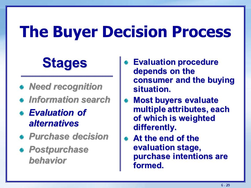 consumer behavior consumer decision process stages Buying-process stages the consumer decision process a seller needs to have answers to questions about consumers' shopping behavior.